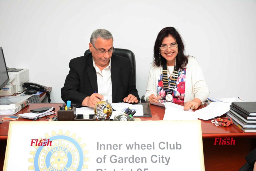 5- Mrs. Nora El Zogbi President of IWC of Garden City with Dr. Refaat Abdel Wahab Chairman of the Holding Company of water & wastewater